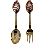 1971 A. Michelsen Sterling Gilt Enamel Christmas Spoon Fork Set