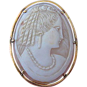 Mid 1800s 15K Oyster Shell Cameo Woman Wearing Earring