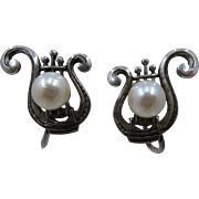 Mikimoto Sterling 7mm Pearl Earrings Lyre Shape Screw Back