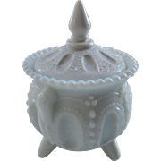 Little Victorian Milk Glass Footed Condiment Pot w/Lid
