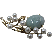 Vintage Ming's of Honolulu 14K Jadeite Pearls Floral Pin Brooch