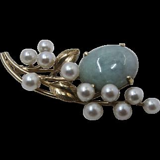 Vintage Ming's of Honolulu 14K Jadeite Pearls Floral Pin Brooch