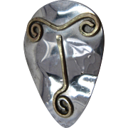 Modernist Mixed Metals Shield Mask Pin