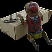 1983 Shackman Tin Wind-Up Monkey w/ Box Tumbling or Somersaulting