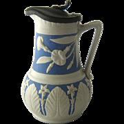 Ca 1870s Aesthetic Stoneware Jug Syrup w/ Raised Decoration Pewter Lid