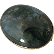 Victorian 10K Gold Moss Agate Pin Brooch