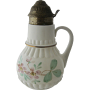 Ca 1900 Hand Painted Milk Glass Syrup Jug Pitcher