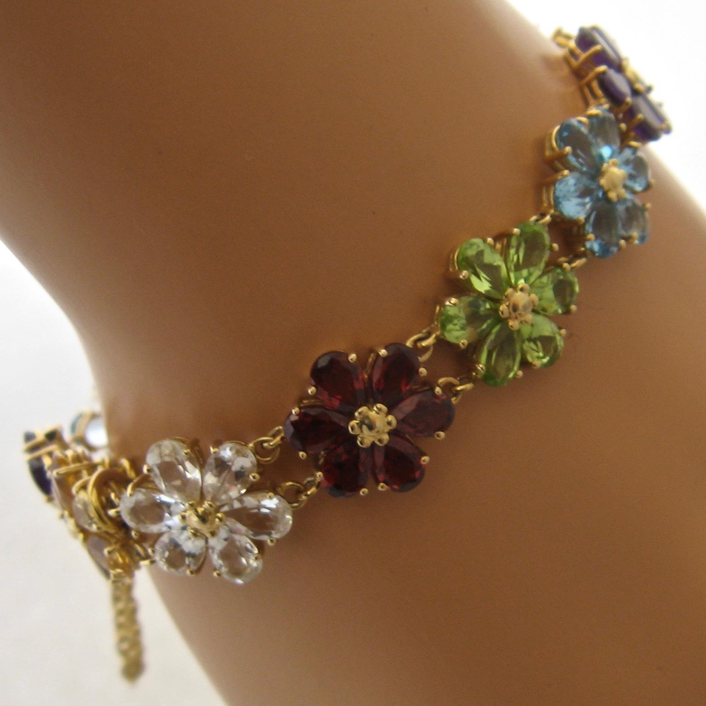 14k Multi Gemstone Flower Link Bracelet 20 Tcw 7 Quot Long