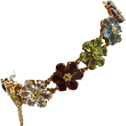 "14K Multi Gemstone Flower Link Bracelet 20 TCW 7"" Long"
