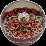 Vintage Murano Millefiori Paperweight Red Miniature Millefiori Bubble