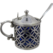 Early 1900s  Sterling Reticulated Mustard Pot w/ Cobalt Glass Liner