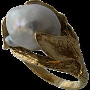 Naturalistic 14K Big Baroque Pearl Cocktail Ring Sz 8 1/4