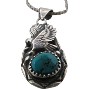 "Vintage Navajo Sterling Turquoise Eagle Pendant Necklace 24"""