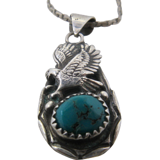 Vintage Navajo Sterling Turquoise Eagle Pendant Necklace 24""