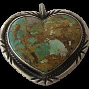 Large Vintage Navajo Sterling Turquoise Heart Pendant