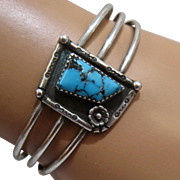 Navajo Sterling Turquoise Cuff Bracelet Peyote Blossom Signed Sz 6