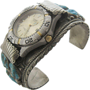 Big Navajo Nickel Silver Turquoise Nuggets Watch Band Casio Watch
