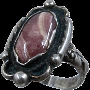 Navajo Sterling Rhodochrosite Ring Signed Br Otis Sz 6 1/2