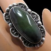 Long Navajo Sterling Nephrite Jade Ring Handmade Size 6 1/2