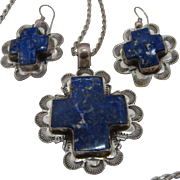 """Navajo Sterling Lapis Cross Path Necklace & Earrings Set Signed 24"""" Chain"""