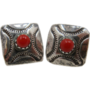 Navajo Sterling Coral Square Post Earrings Sun Rays