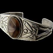 Vintage Navajo Sterling Agate Stamped Cuff Bracelet