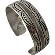 Navajo Sterling Cuff Stamped Designs Water & Rattlesnake Jaws Signed Sz 6 7/8""