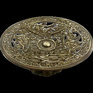 Ca 1870 Neoclassical Gilded Bronze Tazza Card Holder