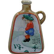 1930s Japan Porcelain Whiskey Nipper Flask Never Drink Water