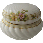 Nippon Porcelain Round Dresser Box Hand Painted Flowers