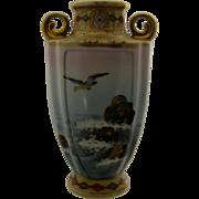 Nippon Porcelain Handled Vase Hand Painted Ocean Scene Gilt