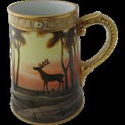 Nippon Hand Painted & Gilded Stein Mug Stag Elk Deer