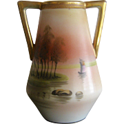 Nippon Porcelain Vase Hand Painted Peach Water Boat Scene