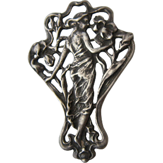 Art Nouveau Style Sterling Woman in Bower of Flowers Pin Ca 1980