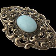 Art Nouveau Sash Pin Silver Plated Blue Art Glass