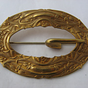 Ca 1905 Art Nouveau Gilded Brass Sash Buckle Pin Flowers & Ribbons