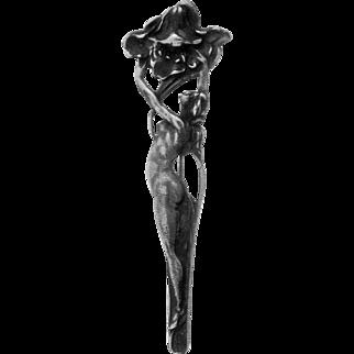 Art Nouveau Style Nude Woman w/ Blossom Pin Ca 1980
