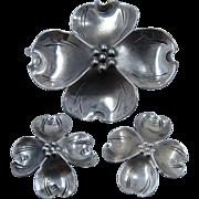 Stuart Nye Sterling Dogwood Flower Pin & Earrings Set Screw Back
