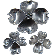 Stuart Nye Sterling Dogwood Flower Pin & Earrings Set Screw Back