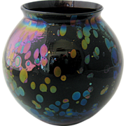 Oil Spot Iridescent Amethyst Glass Vase Loetz Rindskopf
