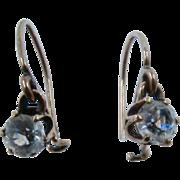 Antique 14K Gold Clear Paste Drop Earrings