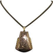 Early 1900s GF Double Locket Engraved w/ Cable Chain 22.5""