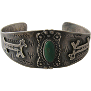 1940s Navajo Cuff Sterling Turquoise Dogs & Snakes