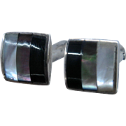 Mid 1900s Sterling Onyx Abalone MOP Inlay Cuff Links