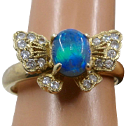 18K Butterfly Ring Opal Body Diamond Inset Wings Sz 5 1/2
