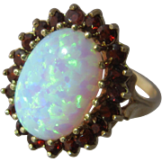 Vintage 9K Opal & Garnets Cluster Ring English Sz 6 3/4