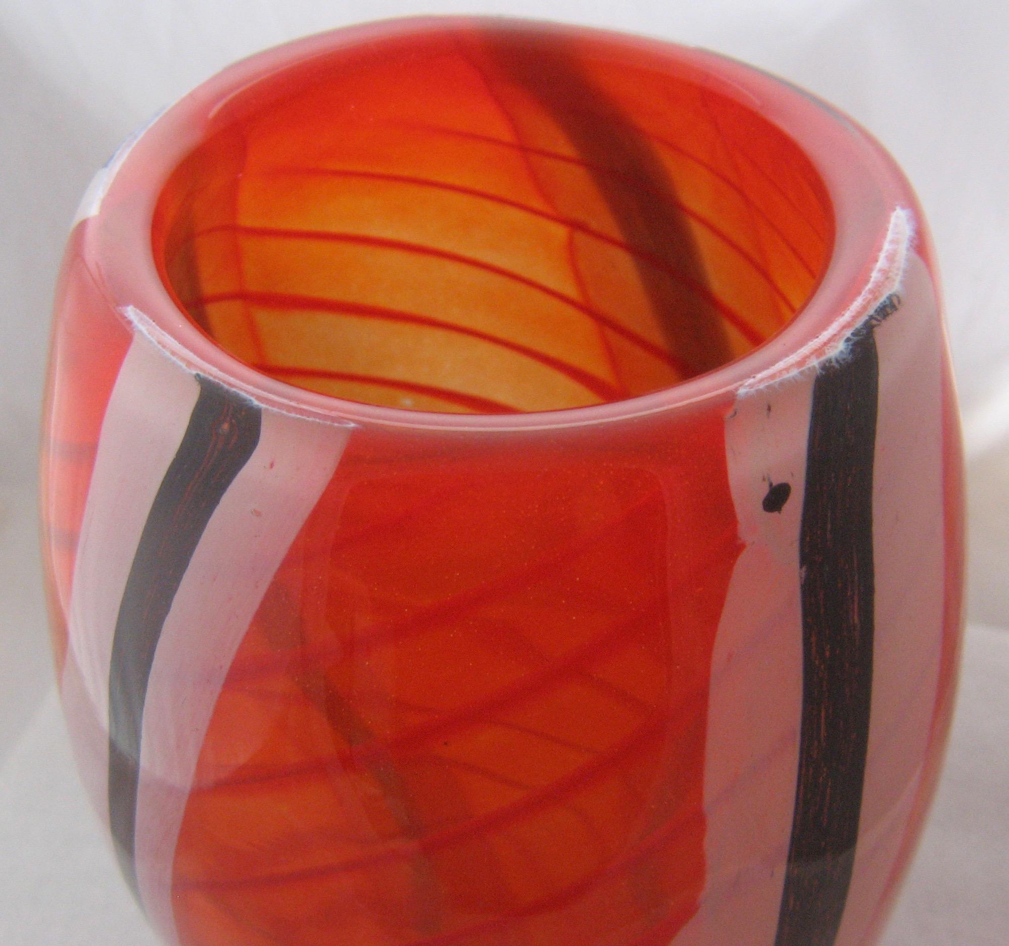 Large Hand Blown Art Glass Vase Red White Black Stripes Signed From Mendocinovintage On Ruby Lane