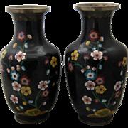 """Pair Chinese Black Cloisonne Vases Peonies 9""""  Ca 1930"""
