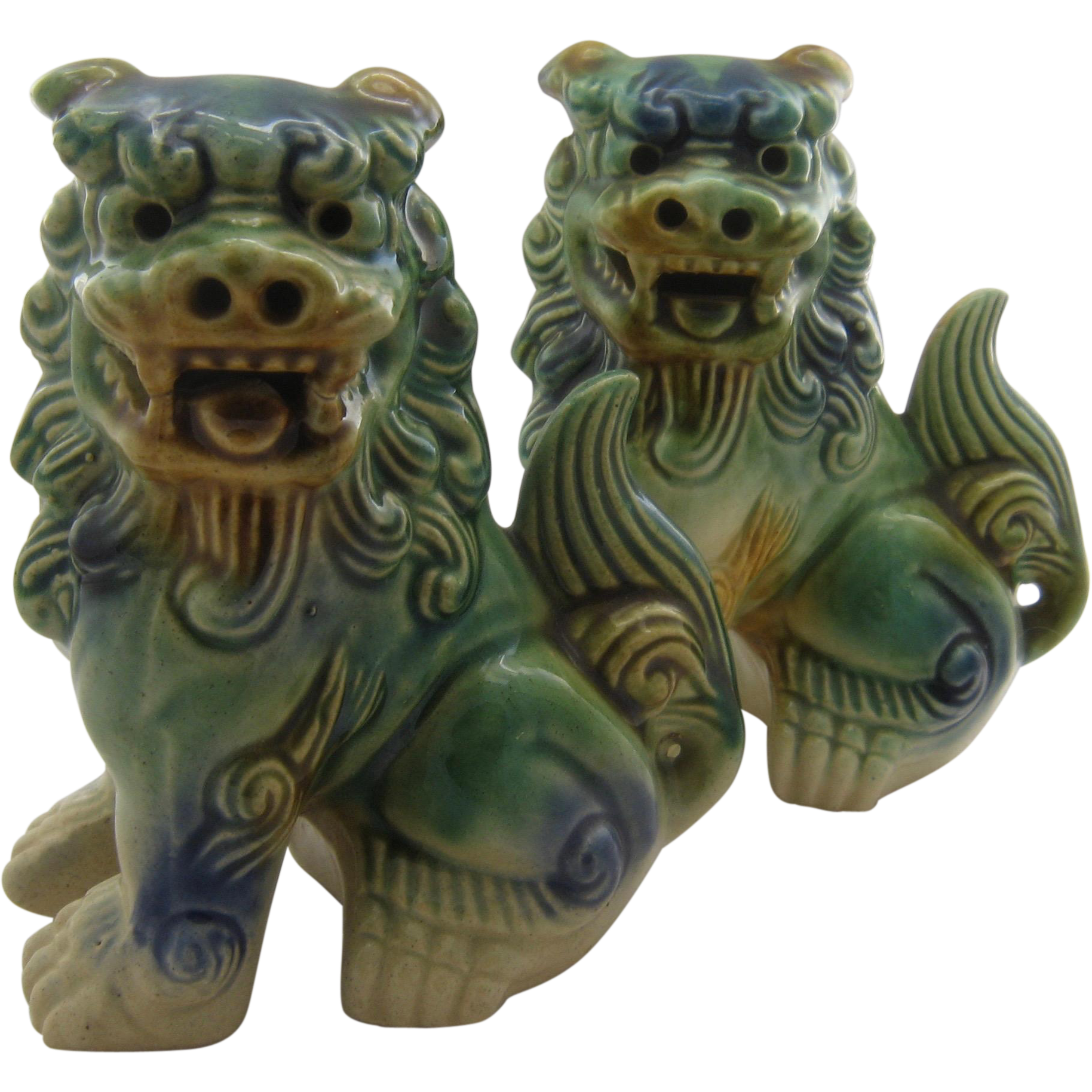Two Vintage Chinese Ceramic Foo Dogs Majolica Glaze From