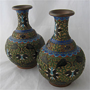 Pair Chinese Cloisonne Champleve  Bronze D' Ore Vases